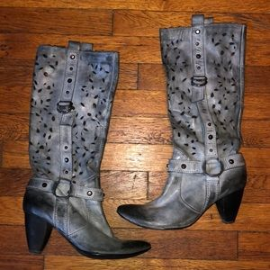 Juno New York leather boots tall cut outs grey 39